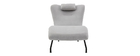 Chaise longue design velours gris clair FLOW