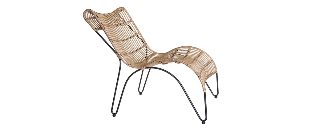 Chaise longue en fils de résine façon rotin BELLAVISTA