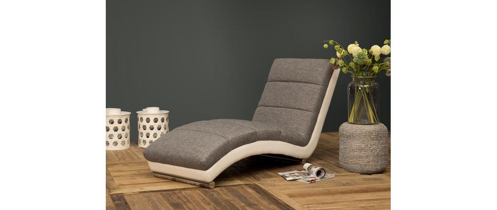Chaise longue fauteuil design blanc et gris taylor miliboo - Fauteuil gris et blanc ...
