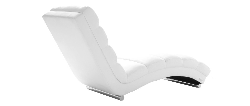 Chaise longue fauteuil design blanc taylor miliboo pictures for Chaise longue design piscine