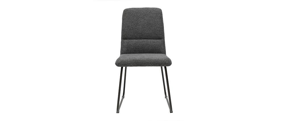 Chaise moderne en tissu et métal gris MYST