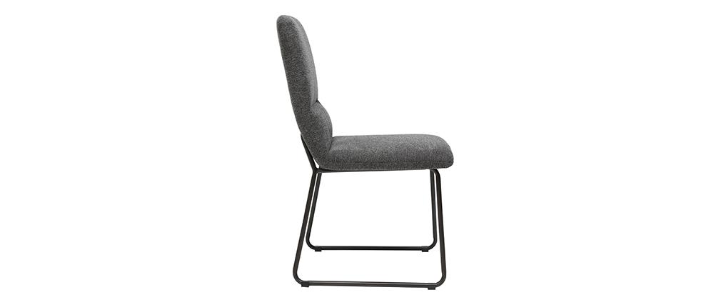Chaise moderne en tissu gris et métal noir MYST