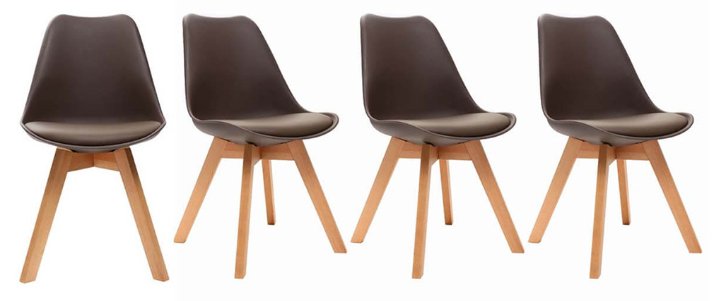Chaise scandinave bois et chocolat (lot de 4) PAULINE