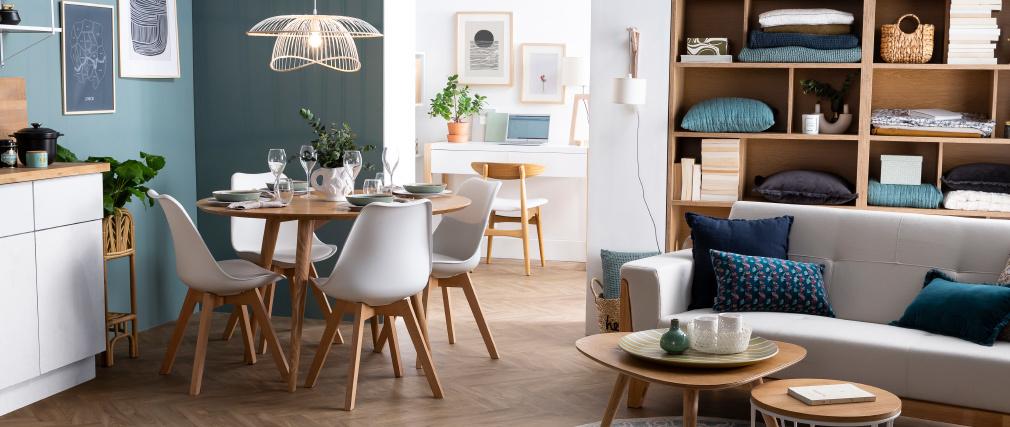 Chaise scandinave bois et chocolat (lot de 4) PAULINE
