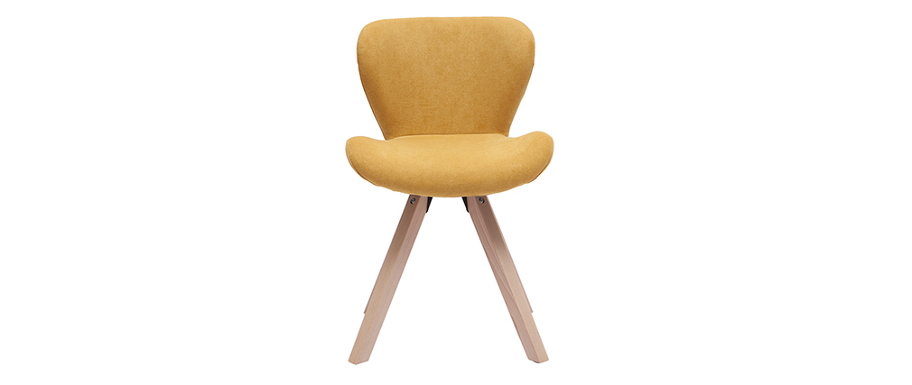 Chaise scandinave effet velours moutarde et bois clair ANYA