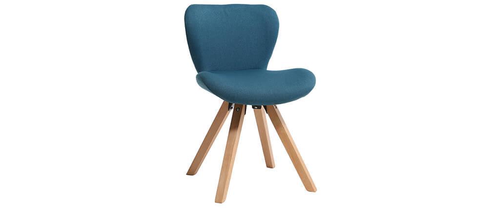 Chaise scandinave en tissu bleu canard et bois clair ANYA