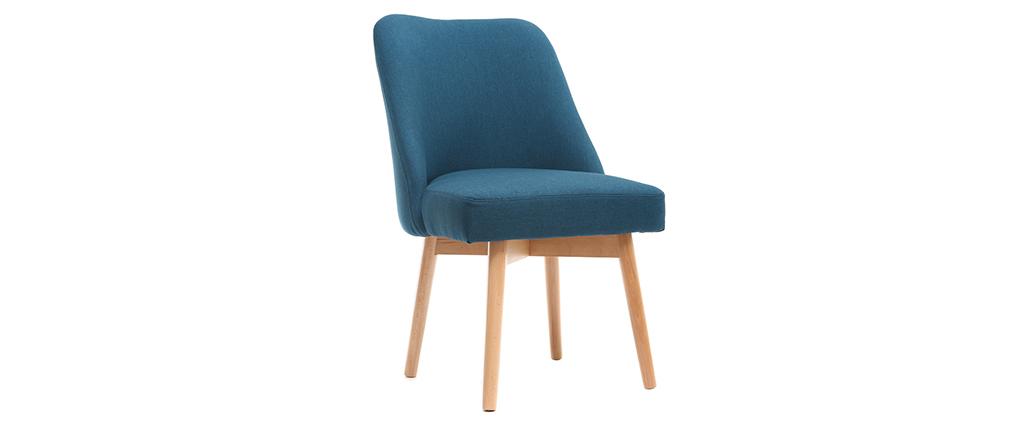 Chaise scandinave en tissu bleu canard et bois clair LIV