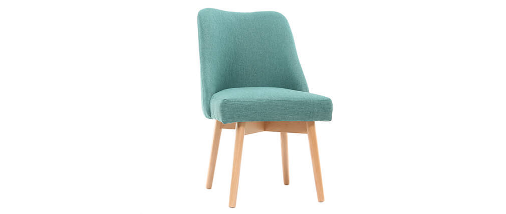 Chaise scandinave en tissu bleu turquoise et bois clair LIV