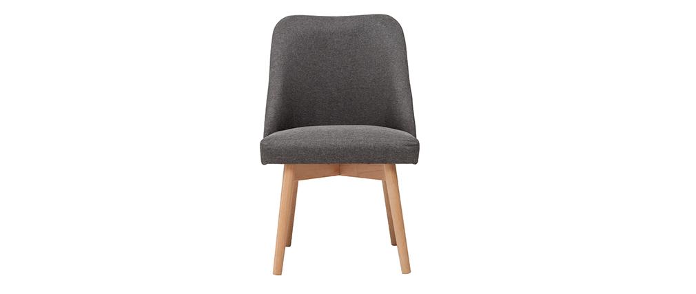 Chaise scandinave en tissu gris foncé et bois clair LIV