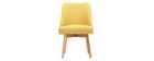 Chaise scandinave en tissu jaune et bois clair LIV