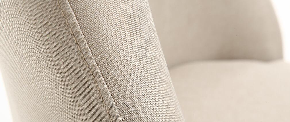 Chaise scandinave en tissu naturel et bois clair LIV