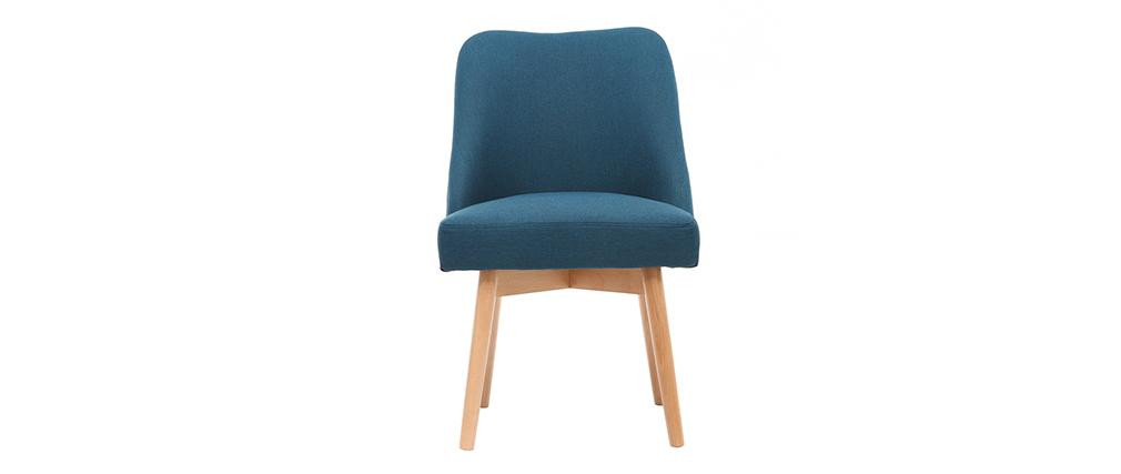 Chaise scandinave tissu bleu canard pieds bois clair liv for Chaise dsw bleu canard