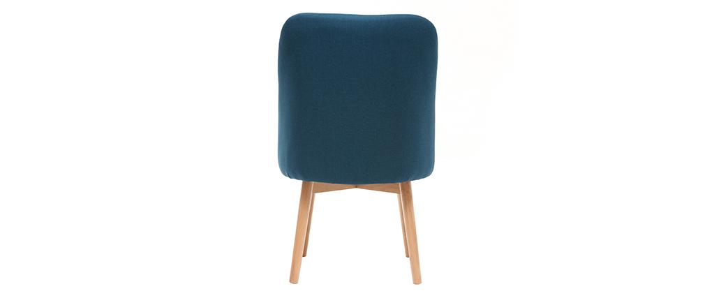 chaise scandinave tissu bleu canard pieds bois clair liv miliboo. Black Bedroom Furniture Sets. Home Design Ideas