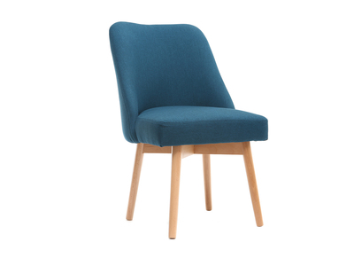 Chaise scandinave tissu bleu canard pieds bois clair LIV