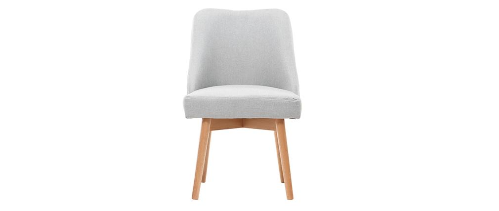 Chaise scandinave tissu gris et bois clair LIV