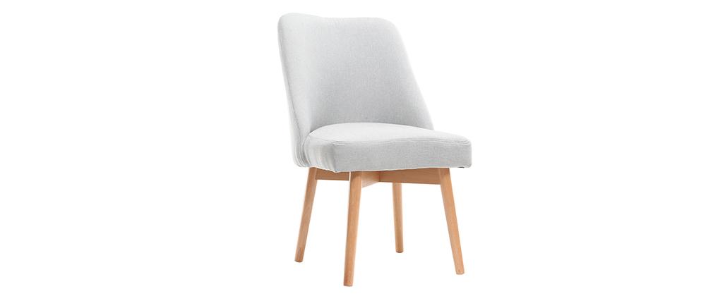 Chaise scandinave tissu gris pieds bois clair LIV
