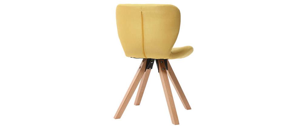 Chaise scandinave tissu jaune et bois clair ANYA