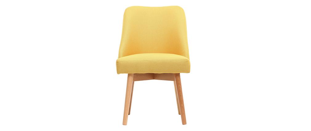 Chaise scandinave tissu jaune pieds bois clair LIV