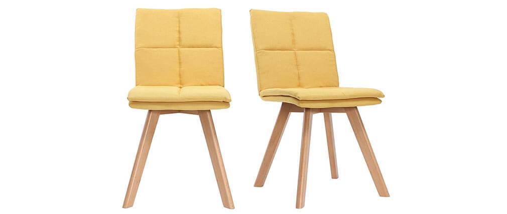 Chaise scandinave tissu jaune pieds bois clair lot de 2 THEA