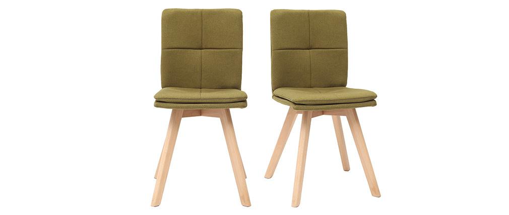Chaise scandinave tissu vert pieds bois clair lot de 2 THEA