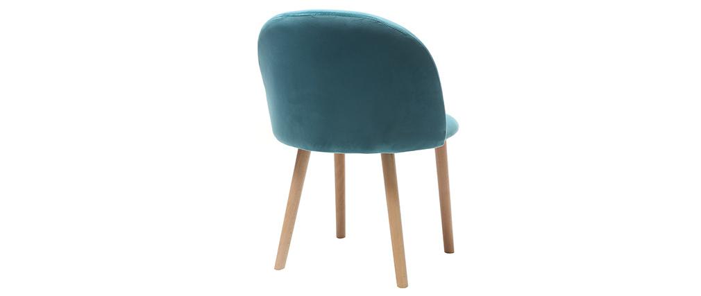 Chaise scandinave velours bleu canard et bois CELESTE