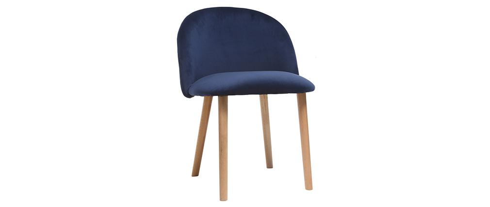 Chaise scandinave velours bleu nuit et bois CELESTE
