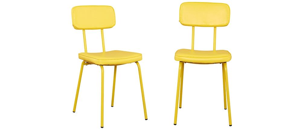 Chaise style colier jaune lot de 2 seventy miliboo - Chaise style ecolier ...