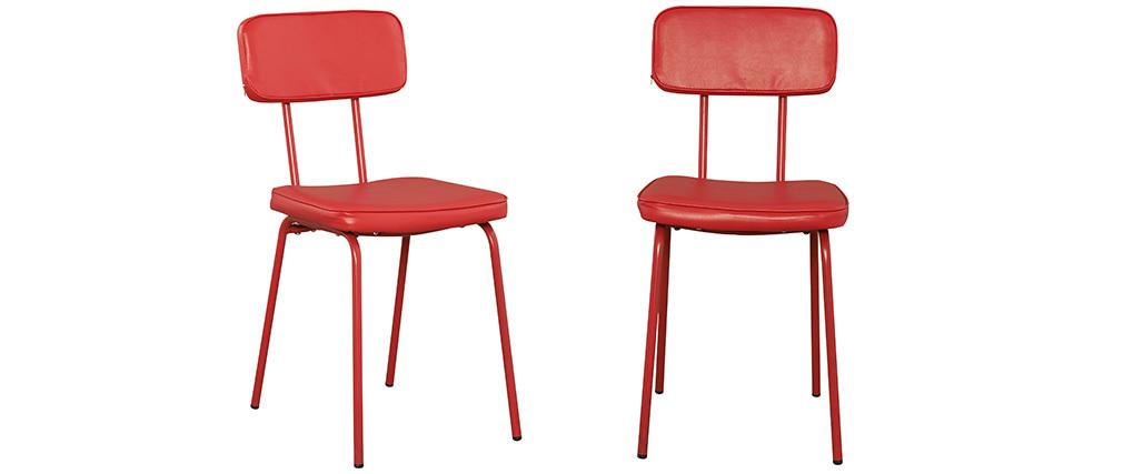 chaise style colier rouge lot de 2 seventy miliboo. Black Bedroom Furniture Sets. Home Design Ideas