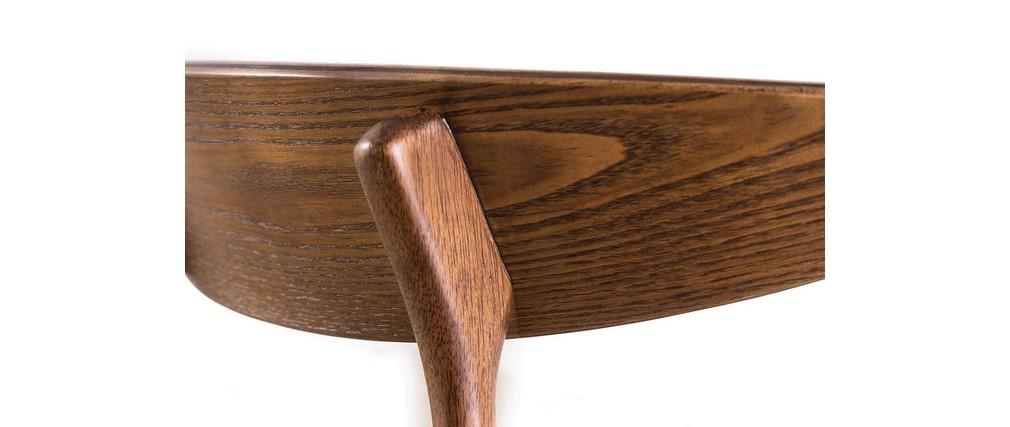 Chaise vintage design bois et PU noir WALFORD