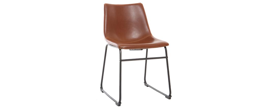 Chaise vintage marron clair et métal NEW ROCK