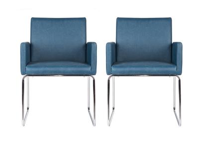 Chaise vintage PU  bleu canard lot de 2 NEORA