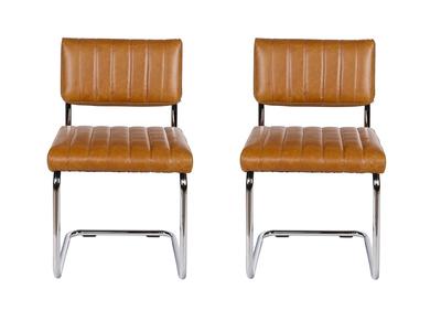 Chaise vintage PU camel lot de 2 CLEM