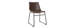 Chaise vintage PU marron NEW ROCK