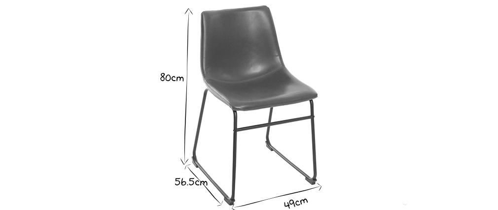 Chaise vintage PU marron NEW ROCK