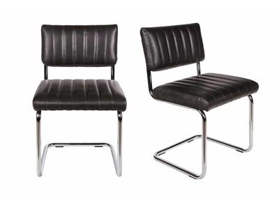 Chaise vintage PU noir lot de 2 CLEM