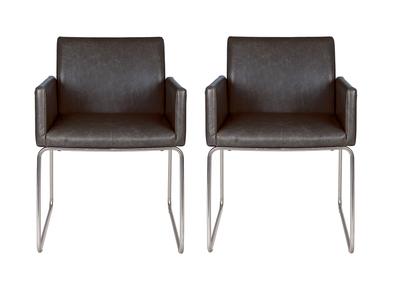 Chaise vintage PU noir lot de 2 NEORA