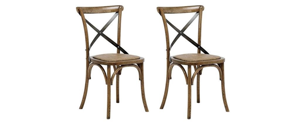 Chaises bistrot en bois naturel et rotin (lot de 2) KAFFE