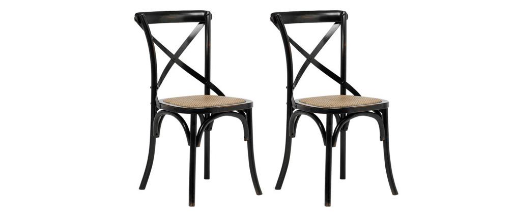 Chaises bistrot en bois noir et rotin (lot de 2) KAFFE