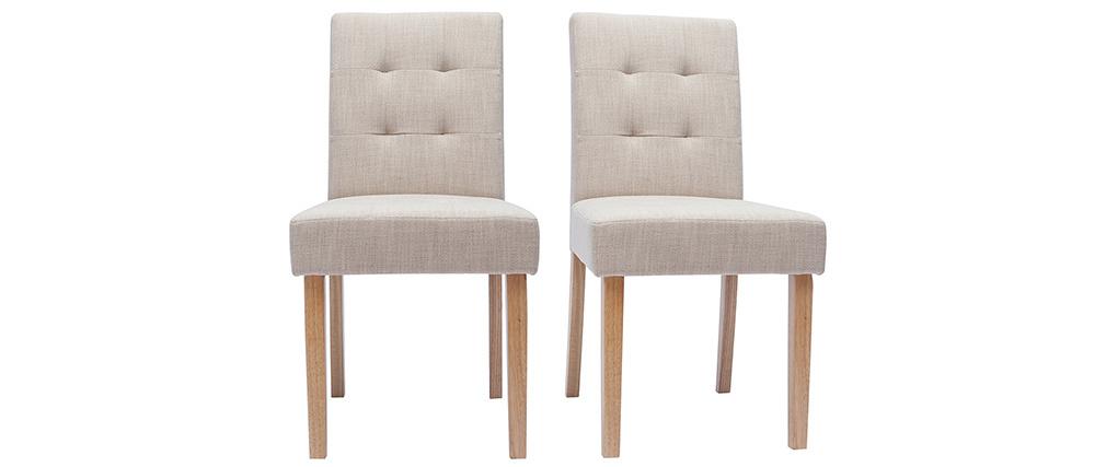 Chaises capitonnées en tissu beige naturel et bois (lot de 2) ESTER