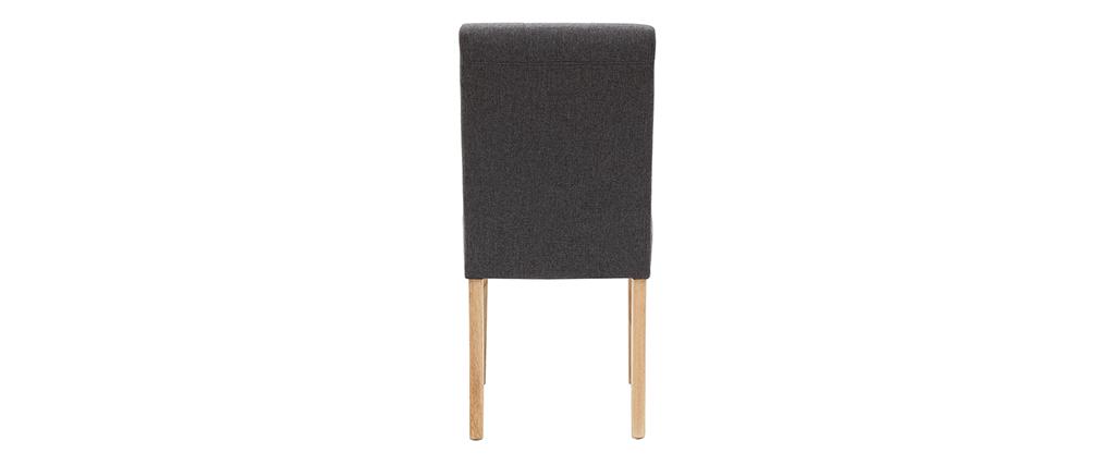 Chaises capitonnées en tissu gris foncé et bois (lot de 2) ESTER