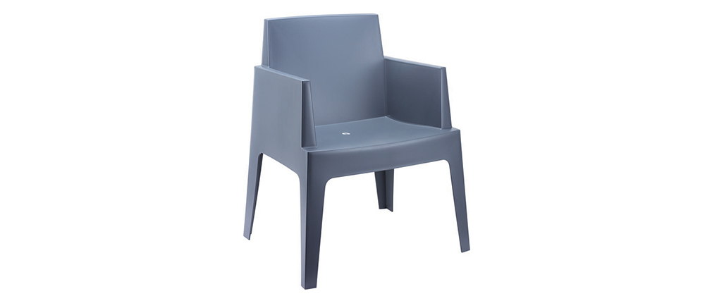 Chaises de jardin design gris fumé Lot de 4 LALI