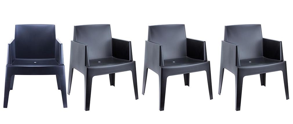 Chaises de jardin design noire lot de 4 lali miliboo for Chaise de jardin noire