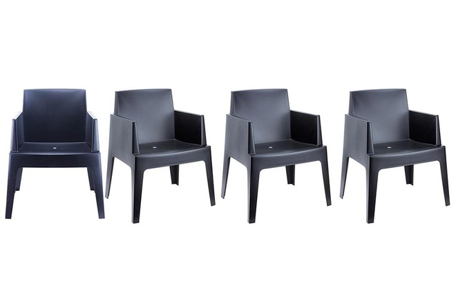 chaises de jardin design noire lot de 4 lali miliboo. Black Bedroom Furniture Sets. Home Design Ideas