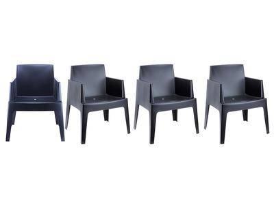 Chaises de jardin design noire Lot de 4 LALI