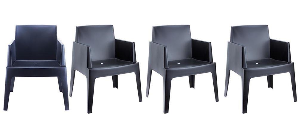 Chaises De Jardin Design Noires Lot De 4 Lali Miliboo
