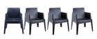 Chaises de jardin design noires Lot de 4 LALI