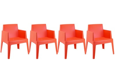 Chaises de jardin design orange  Lot de 4 LALI