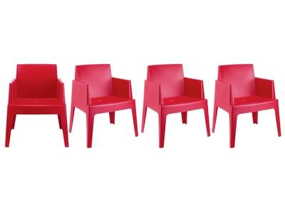 Chaises de jardin design rouge Lot de 4 LALI