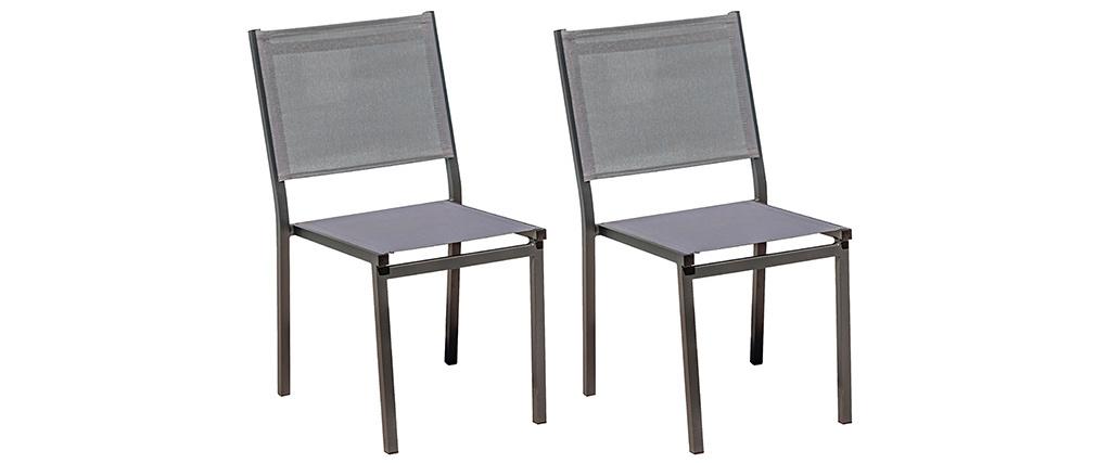 Chaises de jardin empilables grises (lot de 2) PORTOFINO
