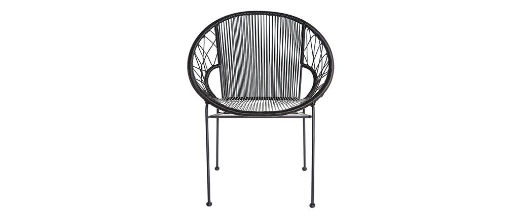 Chaises de jardin en fils de résine noir (lot de 2) FIZZ